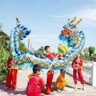 7.9m size 6 # 8 kid blue golden plated CHINESE DRAGON DANCE Folk Festival Celebration Costume