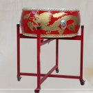 40cm children red drum golden dragon with Drumsticks Chinese Percussion Musical Cowhide chlidren