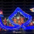 6m size 4 LED BLUE 4 adult silk frabic CHINESE DRAGON DANCE Folk Festival mascot Costume