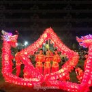 10m size 3# LED RED 6 adult silk frabic CHINESE DRAGON DANCE Folk Festival mascot Costume