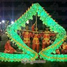14m size 3# LED green 8 adult silk frabic CHINESE DRAGON DANCE Folk Festival mascot Costume