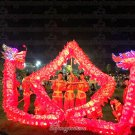 14m size 3# LED red 8 adult silk frabic CHINESE DRAGON DANCE Folk Festival mascot Costume