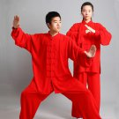 red Traditional Chinese Clothing Long Sleeved Wushu KungFu Uniform Suit Tai Chi Exercise