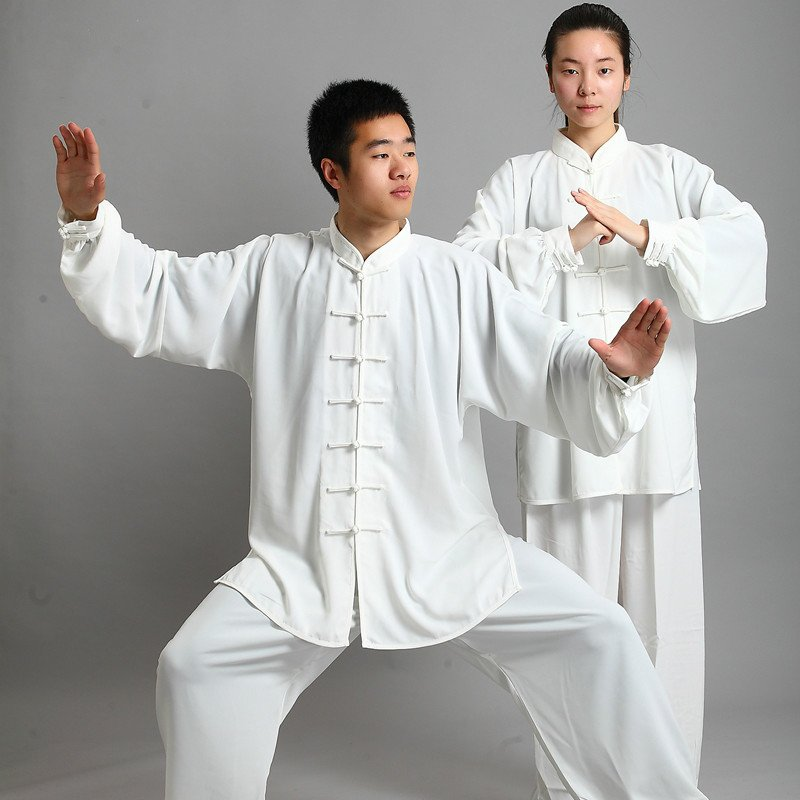 white Traditional Chinese Clothing Long Sleeved Wushu KungFu Uniform Suit Tai Chi Exercise