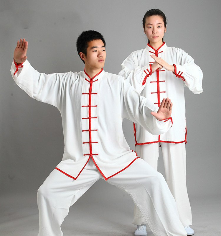 white red Traditional Chinese Clothing Long Sleeved Wushu KungFu Uniform Suit Tai Chi Exercise