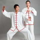 white red Traditional Chinese Clothing Long Sleeved Wushu KungFu Uniform Suit Tai Chi Exercise