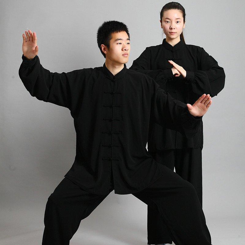 black Traditional Chinese Clothing Long Sleeved Wushu KungFu Uniform Suit Tai Chi Exercise