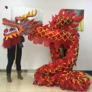 Fancy 7m Length sz5 red golden plated 6 students Chinese DRAGON DANCE game  Festival mascot Costume