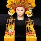yellow ball Peking Opera Headgear drama Costume bride crown queen carnival cosplay performance hat