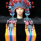 blue red Peking Opera Headgear drama Costume bride crown queen carnival cosplay performance hat