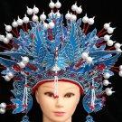 blue white Peking Opera Headgear drama Costume bride crown queen carnival cosplay performance hat