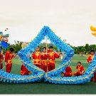 Thanksgiving 16m Length sz5  blue silk print fabric 12 students  DRAGON DANCE Folk mascot Costume