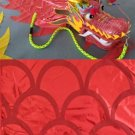 Hand hold 6m long player red golden dragon dance adult mascot costume culture holiday party