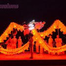 10m size 4# LED red 6 adult silk frabic CHINESE DRAGON DANCE Folk Festival mascot Costume