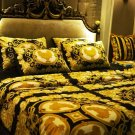 Black   lion Luxury Velvet Flannel Fashion Classic Bedding set Warm Printing Duvet Cover Bed