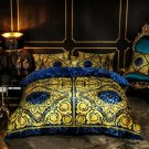 Blue Rattan lion Luxury Velvet Flannel Fashion Classic Bedding set Warm Printing Duvet Cover Bed