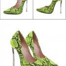 green High Heels SIZE Shoes Women Snake Sexy Stilettos 13cm Heeled Serpentine Shoes