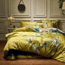 Silky Egyptian Cotton Yellow Chinoiserie Birds Flowers Duvet Cover Bedding Set
