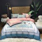 Queen size  4pcs Luxury Silk Satin Jacquard Duvet Cover Bedding Set Embroidery Set