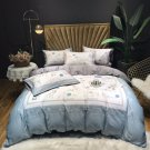 Queen size  4pcs Luxury Silk Satin Jacquard Duvet Cover Bedding Set Embroidery Set puppy