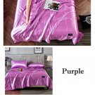 PURPLE Yellow Quilt Blanket Silk Air Contationer Comforter Satin Bed Covers and Bedspreads
