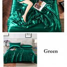 Green Yellow Quilt Blanket Silk Air Contationer Comforter Satin Bed Covers and Bedspreads