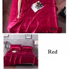 Red Yellow Quilt Blanket Silk Air Contationer Comforter Satin Bed Covers and Bedspreads