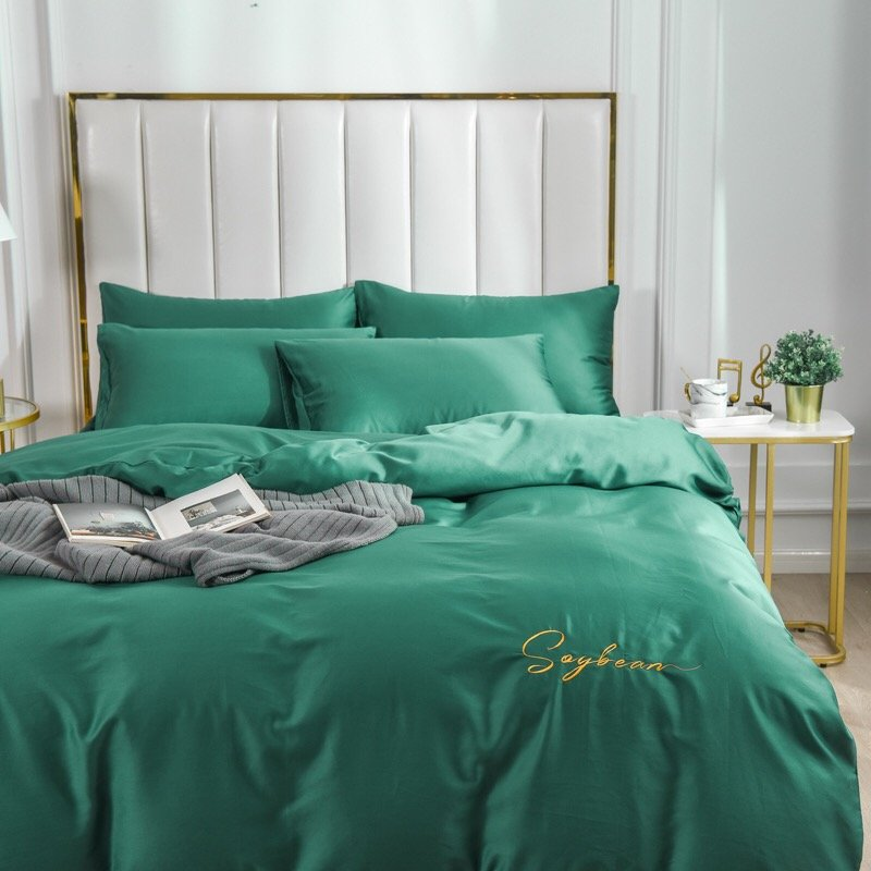 King size  4pcs 100% Cotton  Duvet Cover Bedding Set Pillowcase Embroidery Set