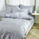 King size Gray  4pcs 100% Cotton  Duvet Cover Bedding Set Pillowcase Embroidery Set