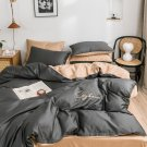 King size Dark Gray 4pcs 100% Cotton  Duvet Cover Bedding Set Pillowcase Embroidery Set