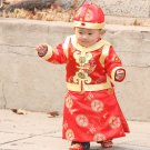 Kids  Boy Girls Chinese Tang Suit Ancient Vintage Vest  Hat Clothing Set Newborn New Year Festival