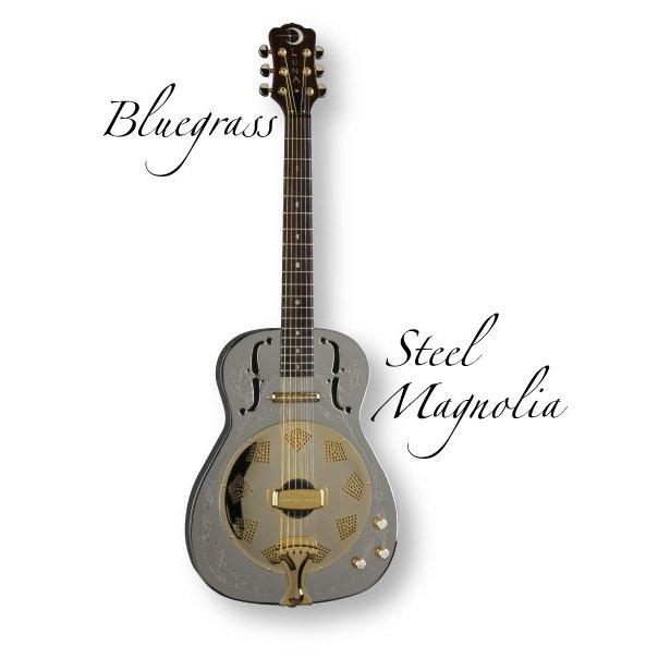 Luna Steel Magnolia Engraved Resonator Plated Bell Brass Guitar, Rosewood Fretboard, Nickel