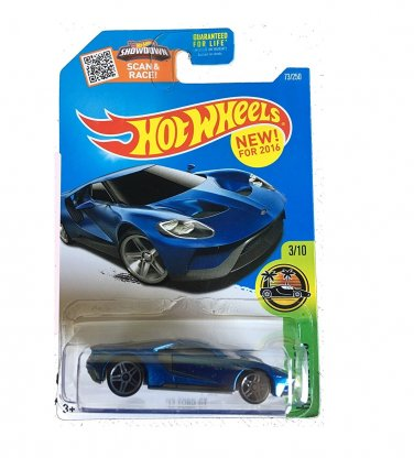 Hot Wheels 2016 '17 Ford GT Blue. HW Exotics 73/250.