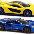 Hot Wheels 2016 '17 Ford GT  & McLaren P1 (Yellow)  2-Car Bundle Set