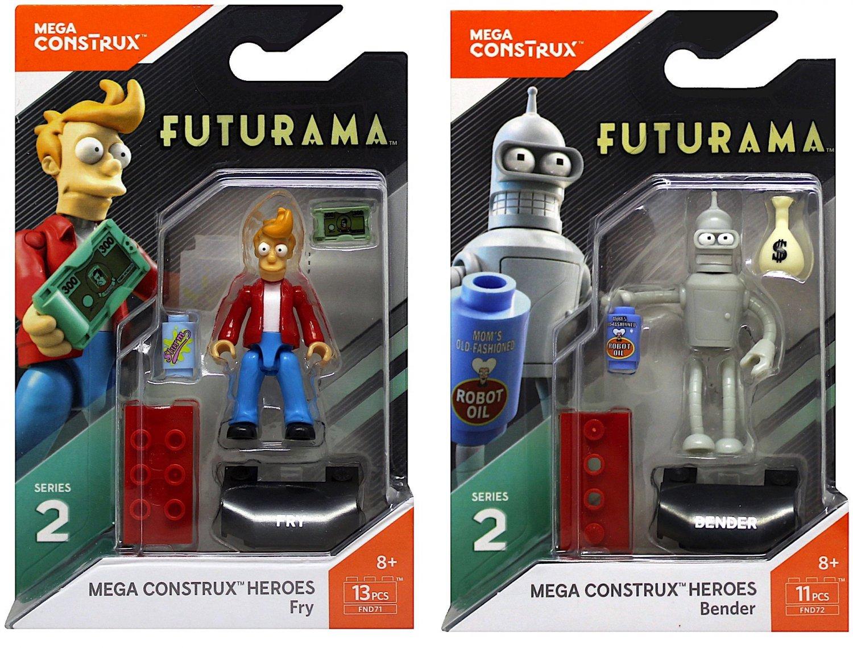 2 Futurama Fry Mega Construx Figure 13 pcs