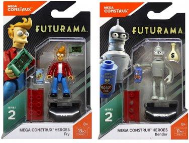 Futurama Mega Construx Heroes. Fry and Bender minifigures.