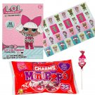 LOL Surprise Doll 32 Valentine Cards with Glitter Stickers and Charms Lollipops