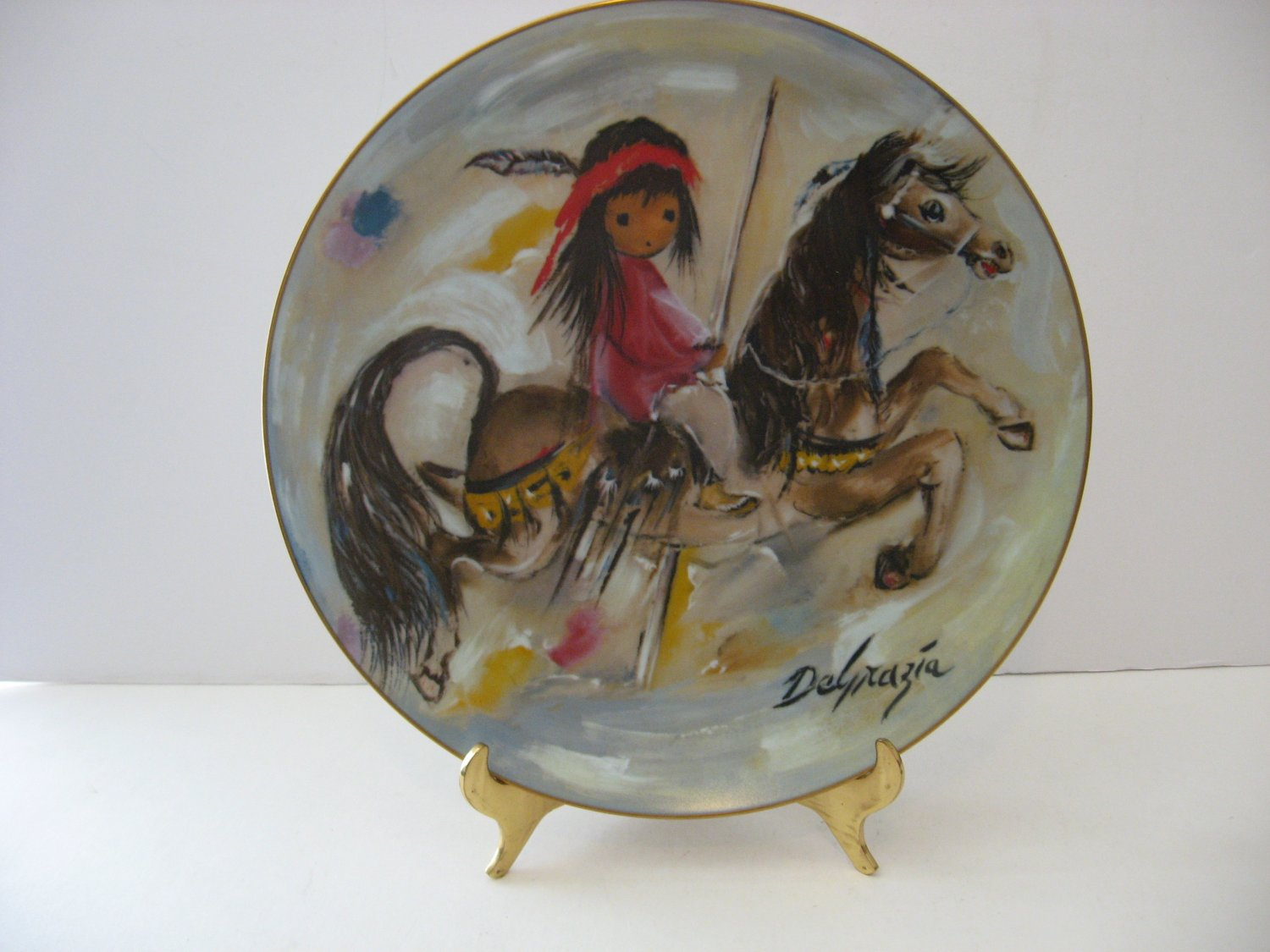 """Vintage - DeGrazia - """"Merry Little Indian"""" Collectors Plate Circa 1981"""