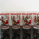 Fun Vintage Christmas Glasses, Set of 4 Tumblers, Santa and his Reindeer