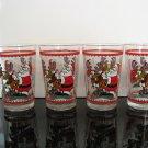 Fun Vintage Christmas Glasses, Set of 4 Tumblers, Santa and his Reindeer
