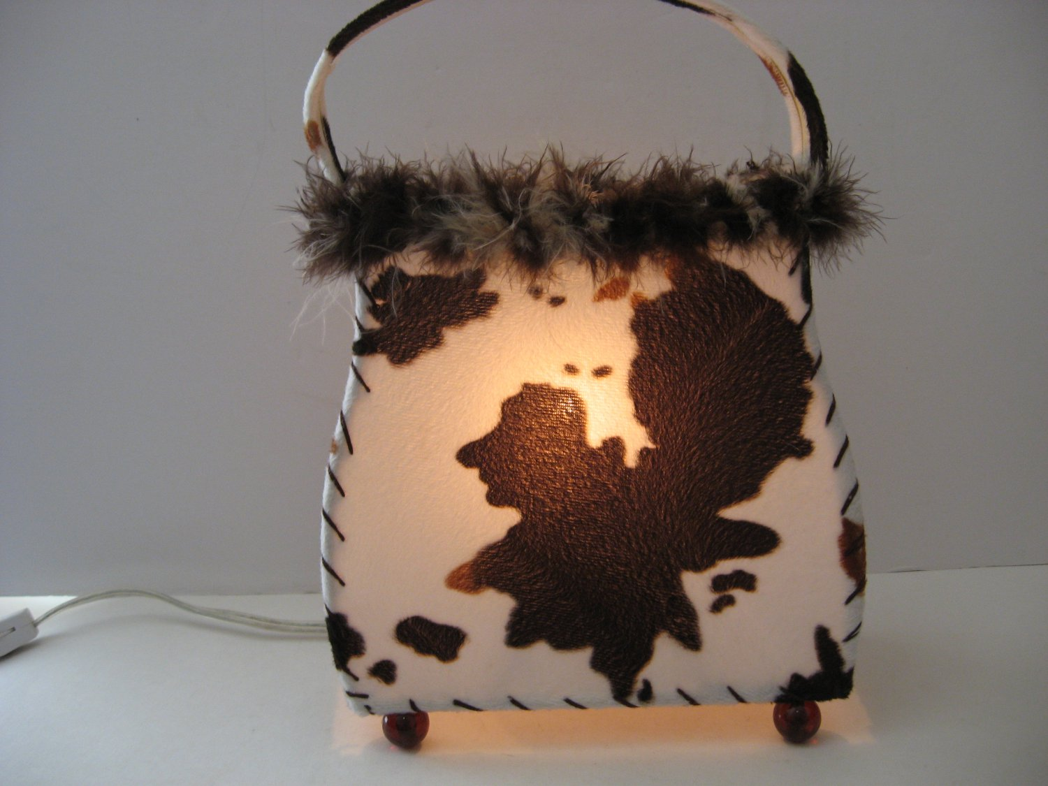 Vintage Cow Print Pocketbook Night light