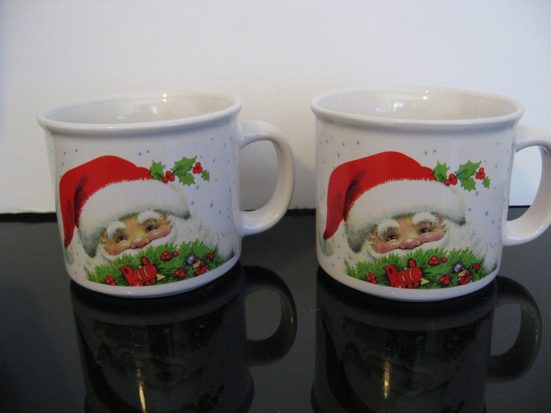 Vintage 2 - Santa Face Christmas coffee mugs.