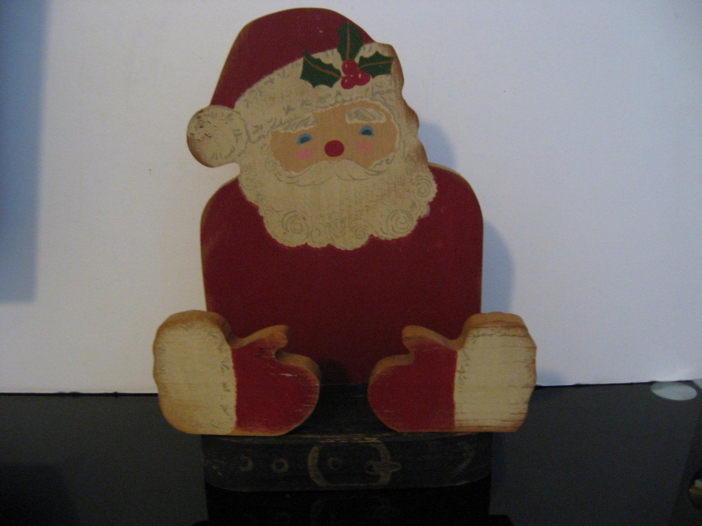 Vintage 1960's All Wood Santa Claus Letter/Napkin Holder