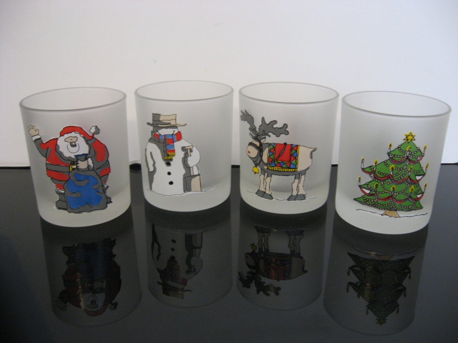 Vintage Frosted Christmas Glasses