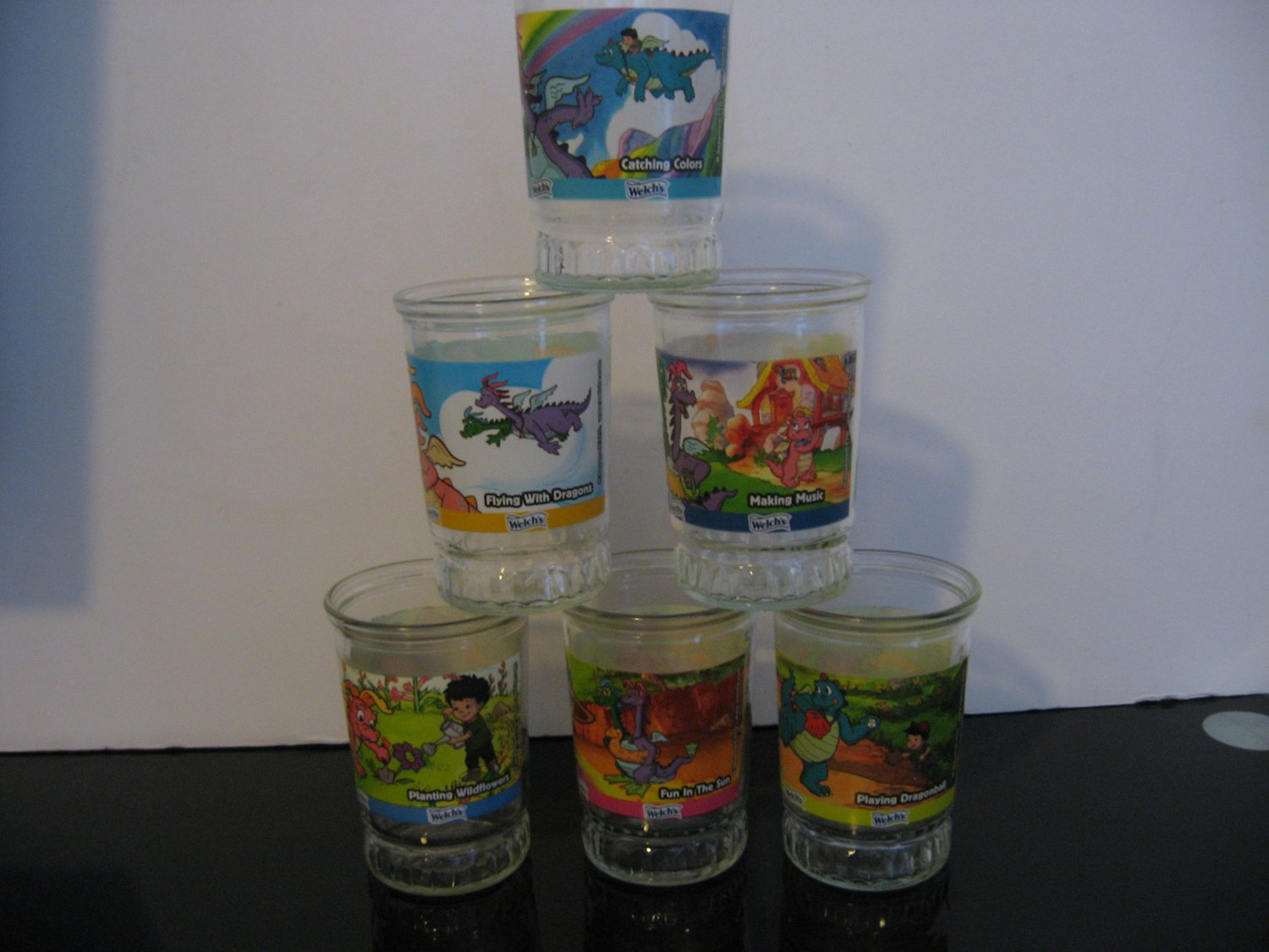 Vintage 1980's - Welch's Dragon Tales Jelly Jar Juice Glasses - Complete Set of 6