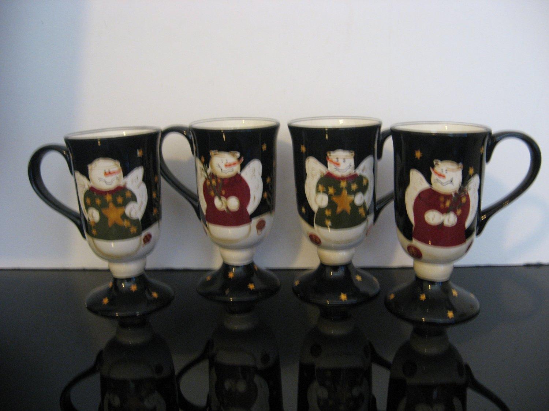 Sonoma Snowmen Pedestal Mugs - Set of 4