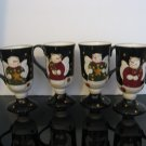 Sonoma Snowmen Pedestal Mugs - Set of 4
