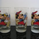 Vintage -  3  Mickey Mouse & Minnie Mouse 8oz Juice Glasses
