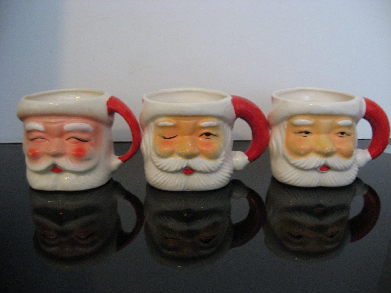 Vintage 1960's - 3 -  Santa Face Mugs