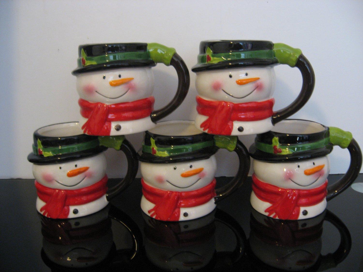 5 - 12oz  Holiday Time Christmas Snowman Mugs